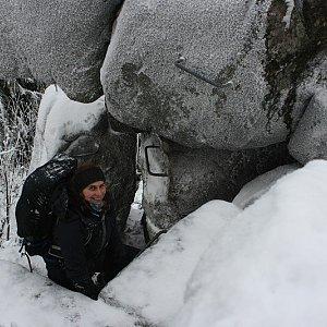 Bouřka na vrcholu Pytlácké kameny (1.1.2021 14:22)