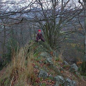 Iveta Válová na vrcholu Chřibský vrch (3.11.2017 8:15)