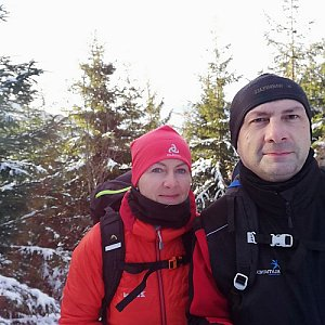 Dana + jirka na vrcholu Malá Stolová (9.2.2020 9:15)