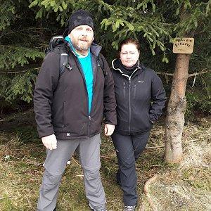 Martin a Jana Halamíčkovi na vrcholu Malá Stolová (7.3.2020 11:05)