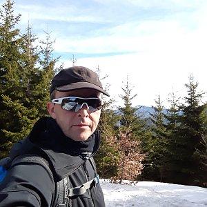 Pavel Skřičík na vrcholu Malá Stolová (17.3.2019 9:00)