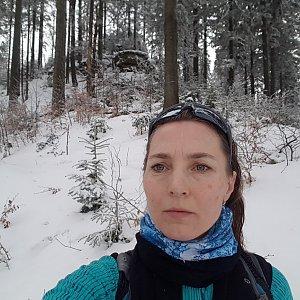 Marcela Kubíčková na vrcholu Nad Kršlí (15.2.2020 10:00)