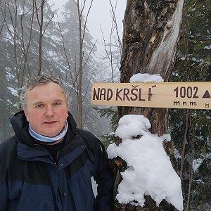 Michael na vrcholu Nad Kršlí (19.2.2021 13:05)