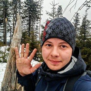 Jan Rendl na vrcholu Nad Kršlí (9.3.2019 15:00)