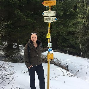 Veronika Pastorková na vrcholu Šindelná (30.3.2018)