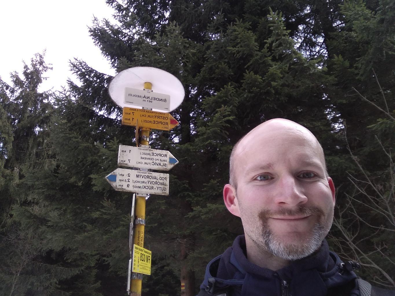Petr Bartoň na vrcholu Šindelná (30.3.2018 12:40)