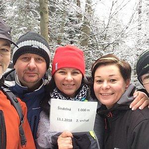 Iveta na vrcholu Šindelná (13.1.2018 12:00)