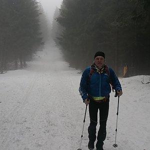 Jaroslav Hrabuška na vrcholu Šindelná (4.2.2021 11:25)