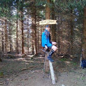 Petr Bartoň na vrcholu Velký Lipový (6.5.2018 8:44)