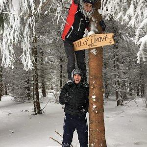 Vojtěch Horák na vrcholu Velký Lipový (24.2.2018)