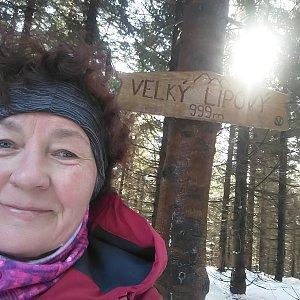 Anna na vrcholu Velký Lipový (21.2.2021)
