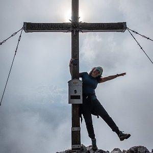 Iveta Steinerová na vrcholu Schönegg (26.8.2019 17:30)