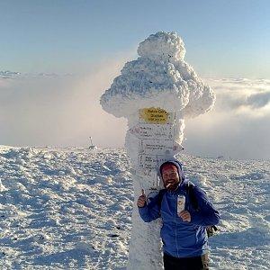Jakub Špaček na vrcholu Babia Hora (29.12.2019 14:45)