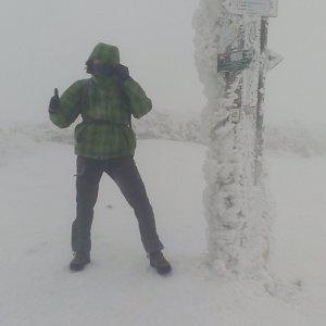 Petr Papcun na vrcholu Babia Hora (28.12.2017 13:00)