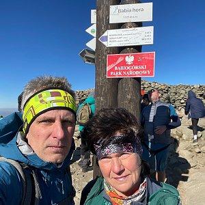 Radek na vrcholu Babia Hora (9.10.2021 1:00)