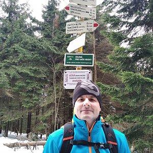Vítězslav Vrána na vrcholu Kněhyně (18.1.2020 10:55)
