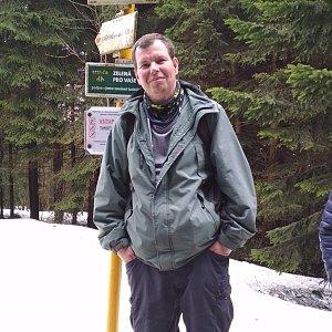Michal Krčmář na vrcholu Kněhyně (24.3.2019 11:43)