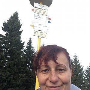 Kamila  Petrová na vrcholu Malý Javorník (8.11.2019 14:00)