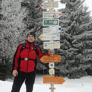 Jiří P na vrcholu Malý Javorník (9.2.2019 13:16)