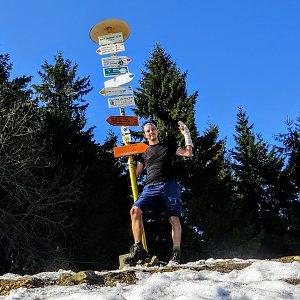 Jan Rendl na vrcholu Malý Javorník (31.3.2019 16:00)