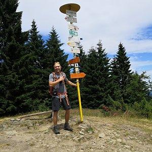 Tomáš Vašíček na vrcholu Malý Javorník (6.7.2019 12:45)