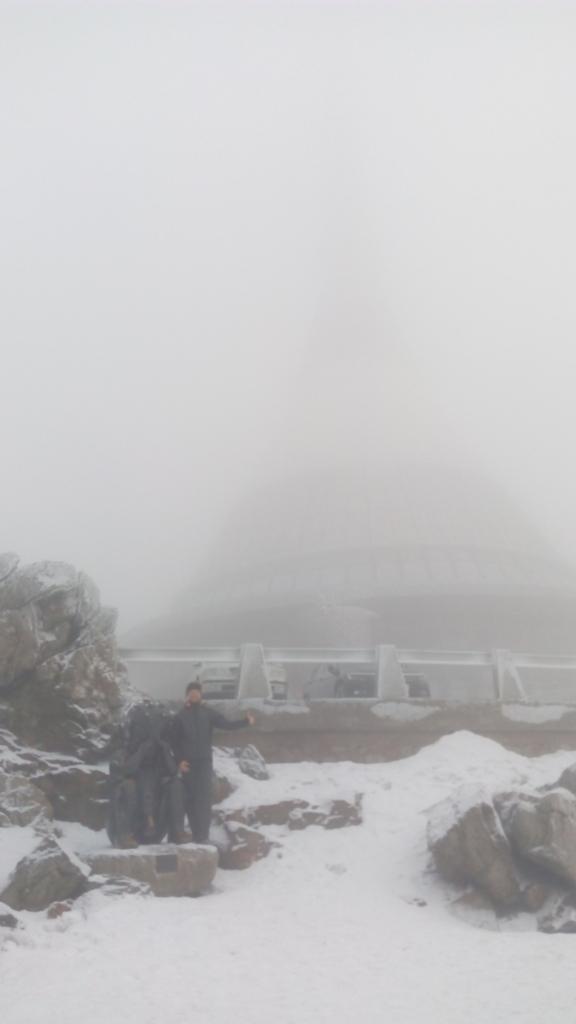 Petr Papcun na vrcholu Ještěd (2.2.2018 12:10)