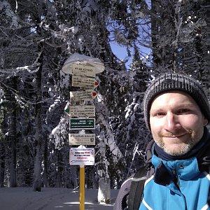 Petr Bartoň na vrcholu Čertův mlýn (4.3.2018 12:01)