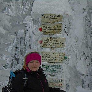 Adélečka na vrcholu Čertův mlýn (20.1.2019)