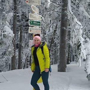 Eva Týnová na vrcholu Čertův mlýn (18.2.2021 14:00)