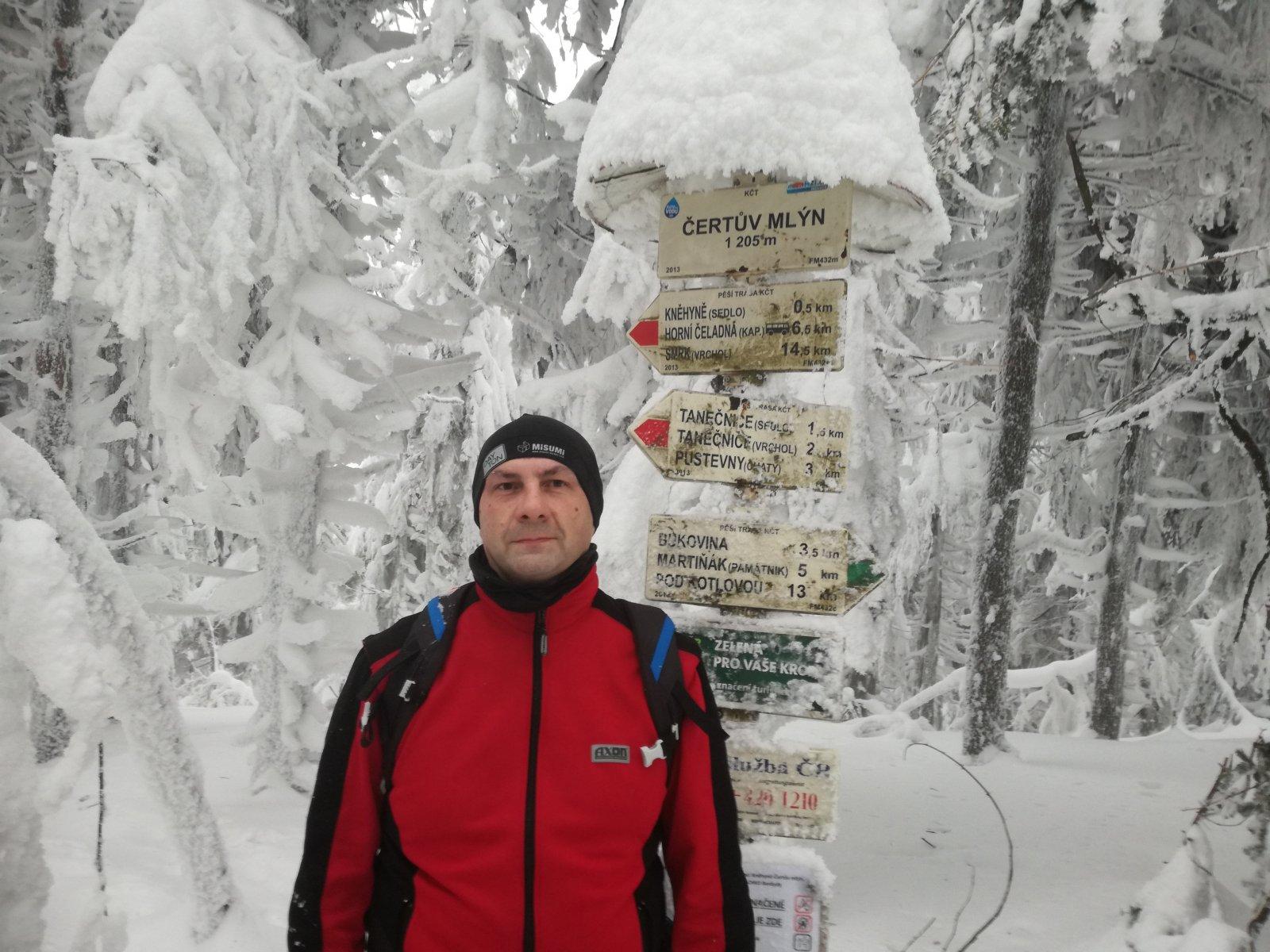 Jiří P na vrcholu Čertův mlýn (1.2.2019 16:07)