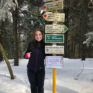 Nicole na vrcholu Čertův mlýn (10.2.2019)