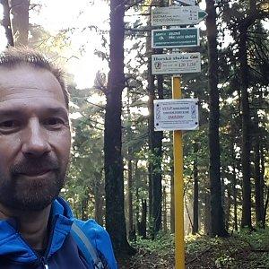 Michal na vrcholu Čertův mlýn (21.7.2021 6:34)