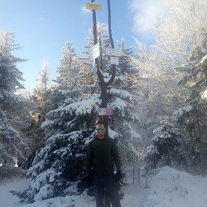 Bartek_na_cestach na vrcholu Klimczok (10.1.2021 12:52)