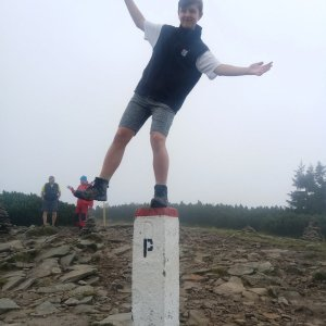 Arnošt na vrcholu Góra Pięciu Kopców (27.8.2021 12:45)