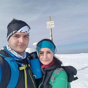 Tomáš Gánoci na vrcholu Králický Sněžník (3.3.2018 13:12)