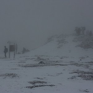 Bouřka na vrcholu Králický Sněžník (18.1.2020 12:18)