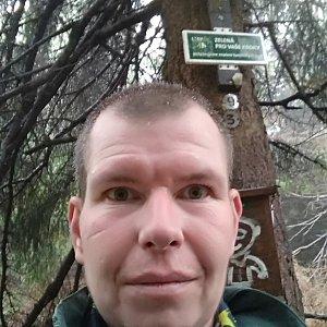 Michal Krčmář na vrcholu Travný (5.10.2019 9:35)