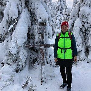 Radka Dubská na vrcholu Travný (2.1.2021 10:04)