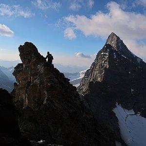 Bouřka na vrcholu Südlicher Fiescherhorn (30.7.2020 7:26)