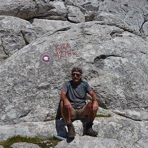 Jarda Vála na vrcholu Kiza (26.8.2020)