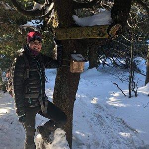 Hana Lančová na vrcholu Malý Smrk (8.1.2020)