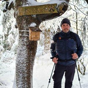Jiří Gryz na vrcholu Malý Smrk (3.1.2021 10:32)