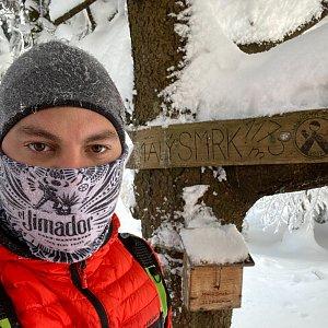 Vladimir Kveton na vrcholu Malý Smrk (17.1.2021 14:25)