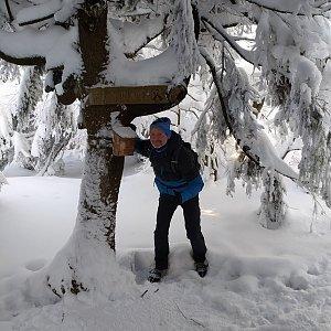 Petr Bartoň na vrcholu Malý Smrk (17.1.2021 12:30)