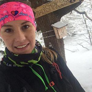 Monča Čaganová na vrcholu Malý Smrk (3.2.2018 15:00)