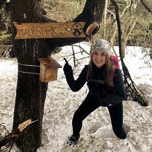 Nicole na vrcholu Malý Smrk (3.2.2019)