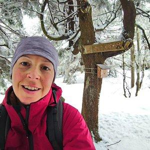 Valerie Hendrychová na vrcholu Malý Smrk (28.2.2021 13:00)