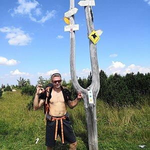 Tomáš Vašíček na vrcholu Slezske sedlo(Špindlerovka) (7.8.2020 13:57)