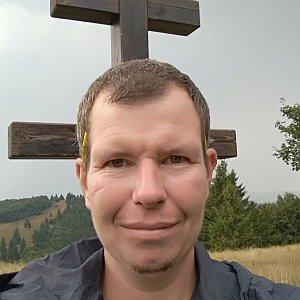 Michal Krčmář na vrcholu Veľký Javorník (24.8.2019 14:40)
