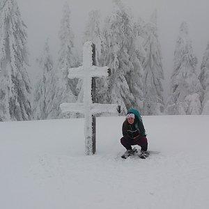 Míša Kutálková na vrcholu Veľký Javorník (27.1.2019 13:02)